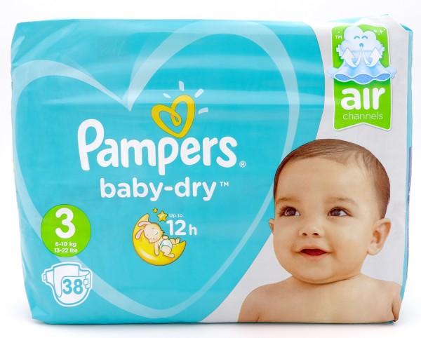 Pampers Baby Dry Windeln, Größe 3, Midi, 6-10 kg (1x 38 Stück)