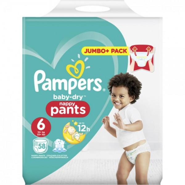 Pampers Baby Dry Pants Windeln, Größe 6, Extra Large, 15+ kg (1x 58 Stück)