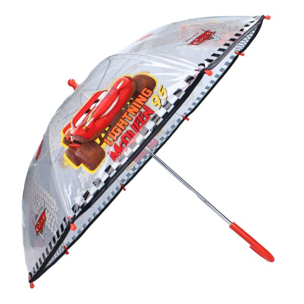 Disney Cars Kinder Regenschirm Stockschirm mit Lightning McQueen, ∅ 72 cm, transparent