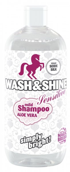 MagicBrush - Wash&Shine Shampoo Sensitive für Pferde, mit veganer Seide, 500 ml