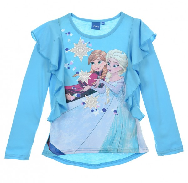 Disney Frozen Kinder Langarmshirt mit Anna & Elsa Motiv, blau