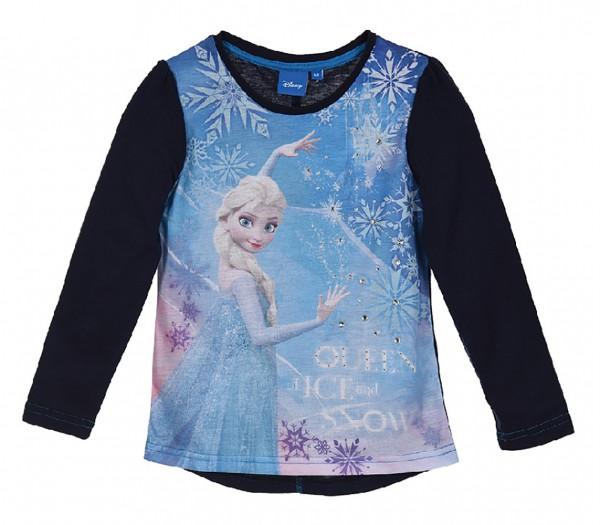 Disney Frozen Kinder Langarmshirt mit Elsa, dunkelblau