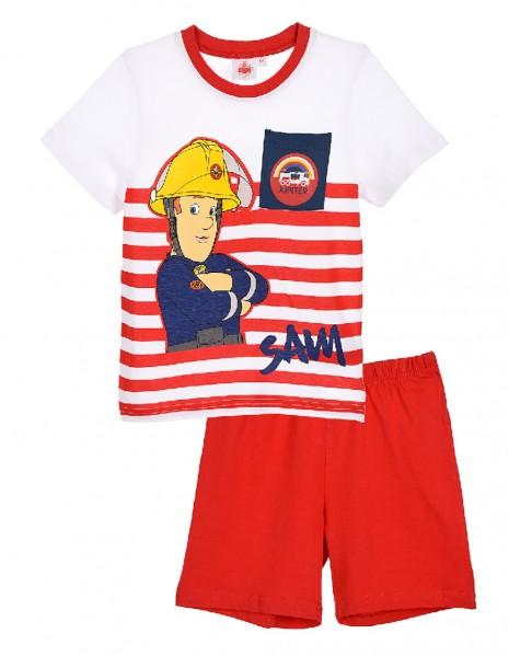 Feuerwehrmann Sam Jungen Schlafanzug T-Shirt Kurze Hose, 2-teilig, rot