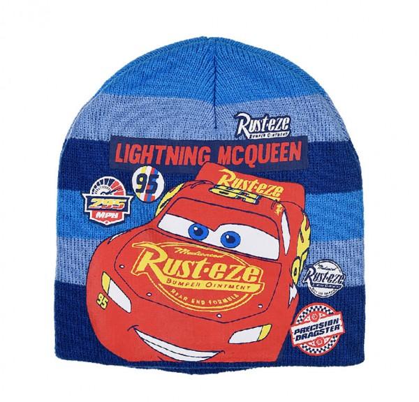 Disney Cars Kinder Strickmütze mit Lightning McQueen Motiv, blau