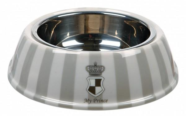 Trixie My Prince Kombi-Napf für Hunde, Melamin/Edelstahl -  0,25 l/ø 17 cm, grau/weiß