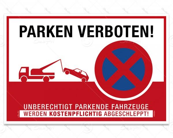 """Despri Schild """"Parken verboten"""" Hinweisschild, S0004, Aluverbund, 3 mm, 30x20 cm, UV-Lack"""