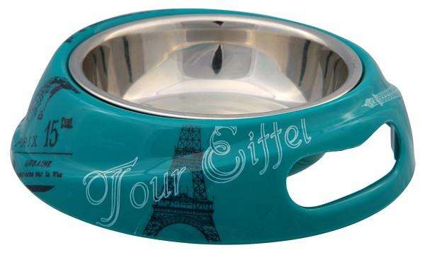 Trixie Kombi-Napf Paris aus Melamin & Edelstahl - 0,15 L/ø 14 cm, petrol
