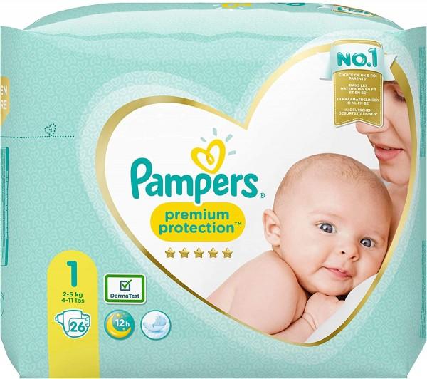 Pampers Premium Protection New Baby Windeln, Größe 1, 2-5 kg (1x 26 Stück)