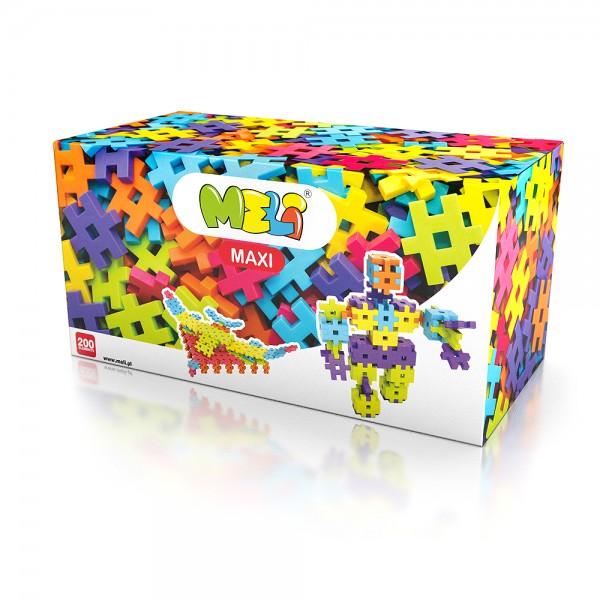 Meli Maxi 200 - Kreativ-Bausteine für kleine Hände, Spielzeug für Kleinkinder ab 1+