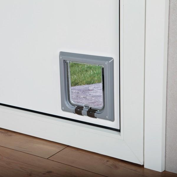 Trixie 4-Wege Katzen Freilauftür Katzentür, 14,7 x 15,8 cm, grau