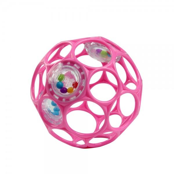 Oball Rattle 10 cm - Pink, Greifball mit Rassel, Spielzeug für Babys ab 0+ Monate