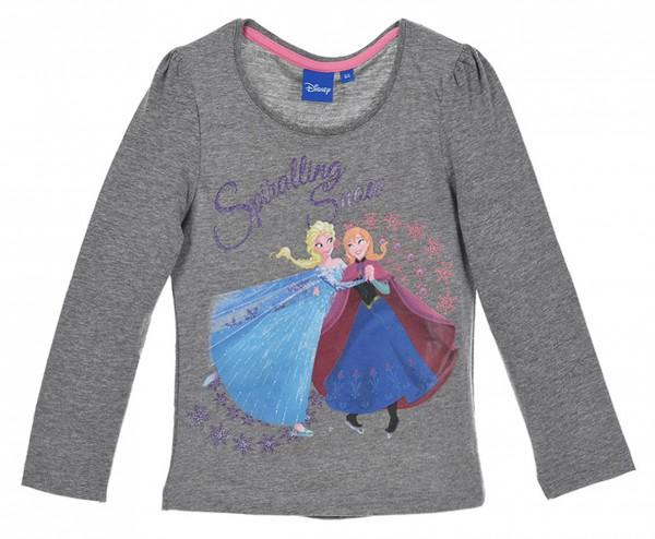 Disney Frozen Mädchen Langarmshirt mit Elsa & Anna, grau