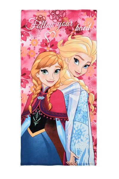 Disney Frozen Kinder Strandtuch mit Anna & Elsa Motiv, 70x140 cm, pink