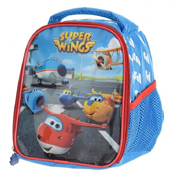 Super Wings Kinder Rucksack, blau, 22x19x12cm, Wasserdicht