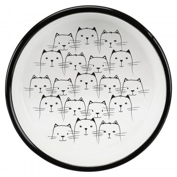 Trixie Keramiknapf, Katze, für kurznasige Rassen, 0,3 l/ø 15 cm, schwarz/weiß