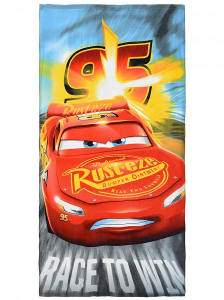 Disney Cars Kinder Badetuch Strandtuch Lightning McQueen, 70 x 140 cm, grau