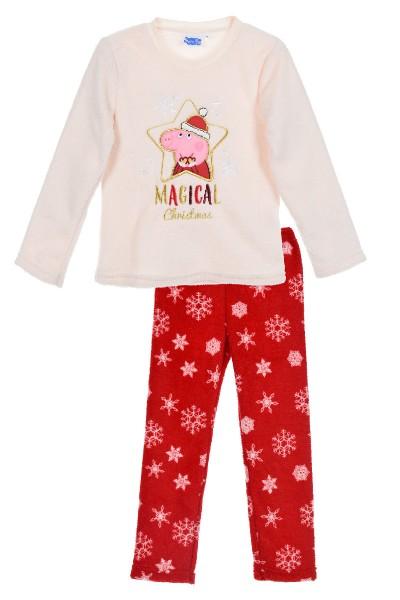 Peppa Wutz Kinder Kuscheliger Schlafanzug mit Weihnachtsmotiv, 2-teilig, beige