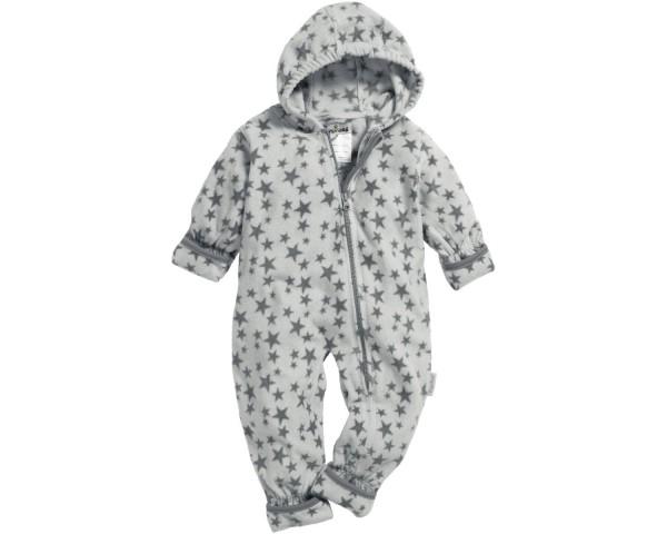 Playshoes Baby Fleece-Overall Strampler mit Kapuze Sternenmotiv, grau
