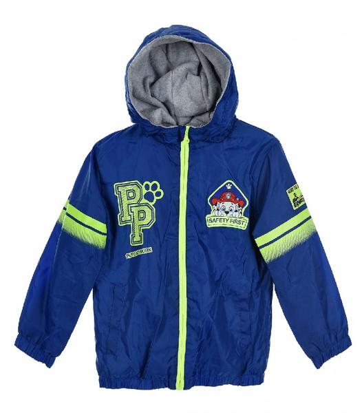 Paw Patrol Kinder Windjacke Kapuzenjacke mit Neon-Reißverschluss, blau