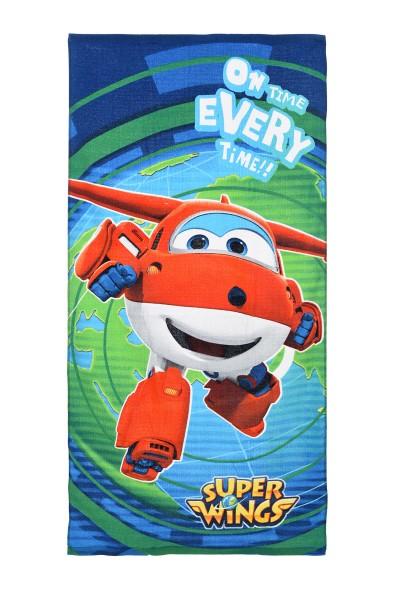 Super Wings Kinder Badetuch Duschtuch mit Jett, 70 x 140 cm, dunkelblau