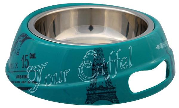 Trixie Kombi-Napf Paris aus Melamin & Edelstahl - 0,25 L/ø 17 cm, petrol