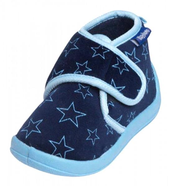 Playshoes Kinder Hausschuhe mit Sternenmotiv, mit Klettverschluss, marine