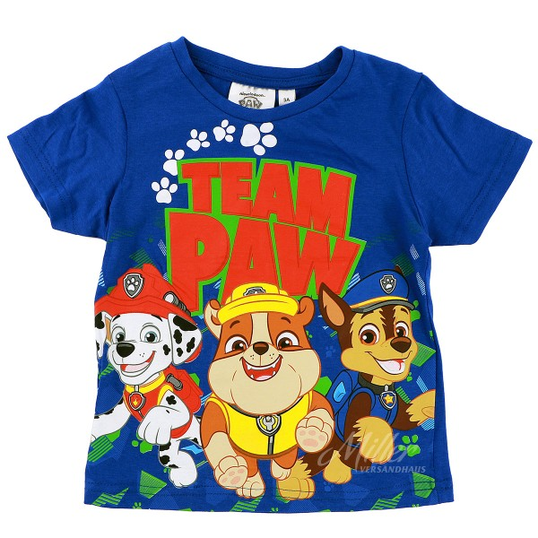 Paw Patrol Jungen T-Shirt mit Marshall Rubble & Chase, blau