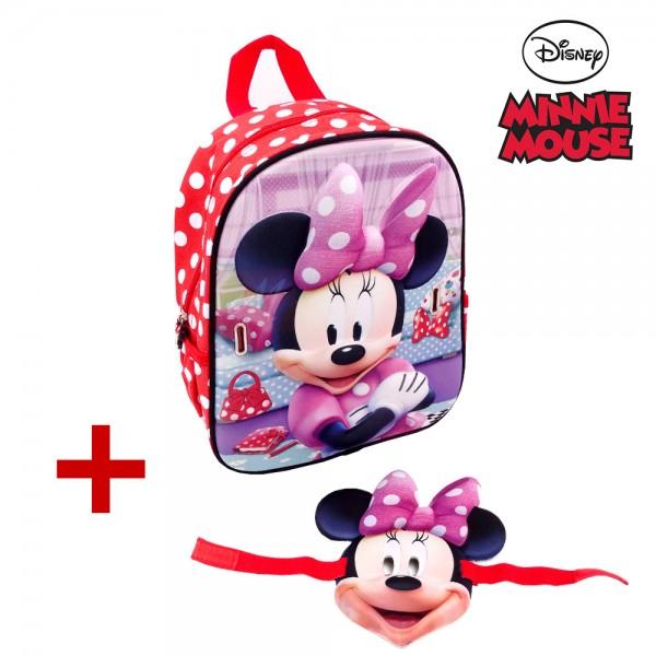 Disney Minnie Mouse Kinderrucksack, rot, 32x25x12cm inkl. 3D-Maske