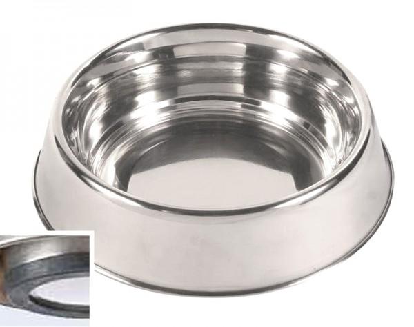 Trixie Edelstahlnapf, Gummiring 0,45 Liter, 14 cm, Hundenapf