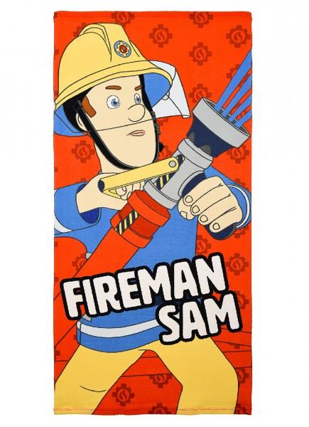 Feuerwehrmann Sam Kinder Badetuch Duschtuch Strandtuch, 70 x 140 cm, rot