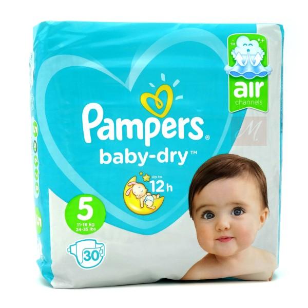 Pampers Baby Dry Windeln, Größe 5, Junior, 11-23 kg (1x 30 Stück)