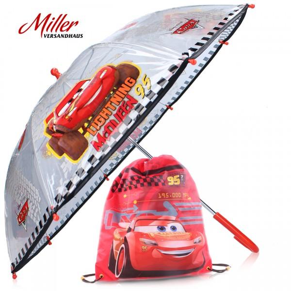 "2-tlg. Sparset - Disney ""Cars"", Kinder Regenschirm, ∅ 72 cm + Turnbeutel, Geschenkidee, MG006"