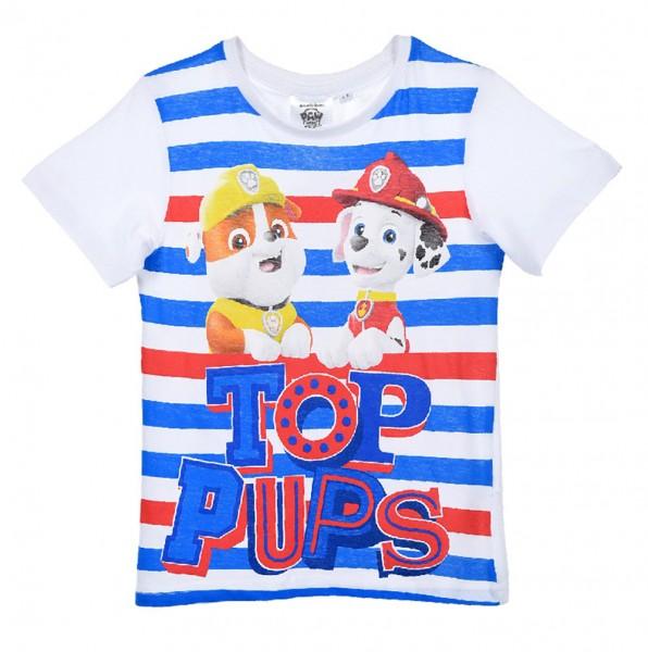 Paw Patrol Jungen T-Shirt Kurzarmshirt mit Rubble & Marshall, weiß