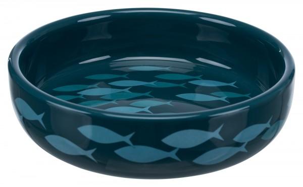 Trixie Keramiknapf, Katze, für kurznasige Rassen, 0,3 l/ø 15 cm, petrol/blau