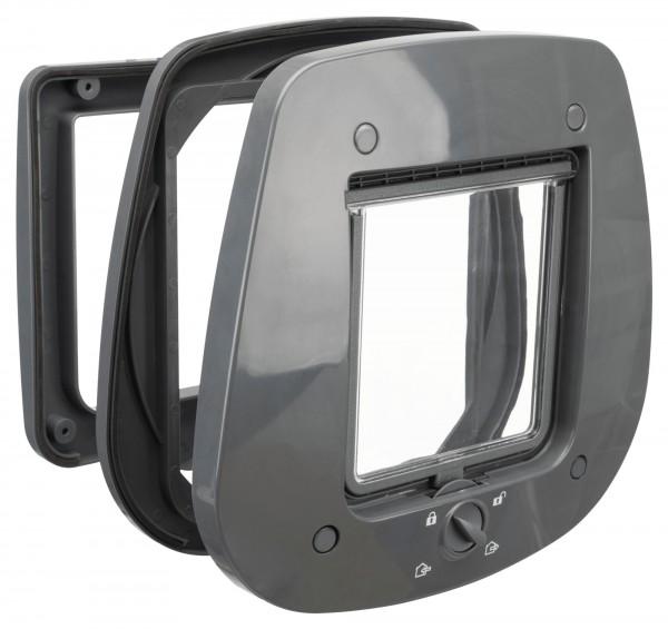 Trixie 4-Wege Katzen-Freilauftür für Glastüren aus Kunststoff, grau, 27 x 26 cm
