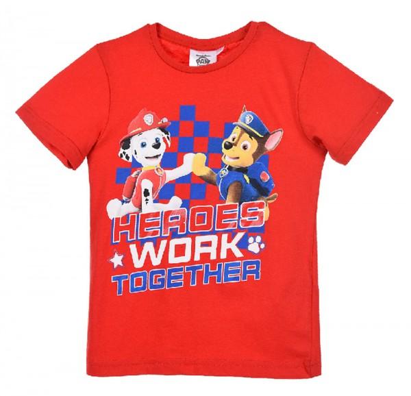 Paw Patrol Jungen T-Shirt Kurzarmshirt mit Marshall & Chase, rot