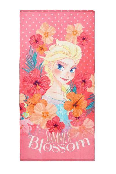 """Disney Frozen Kinder Strandtuch mit Elsa Motiv """"Summer Blossom"""", 70x140 cm, pink"""