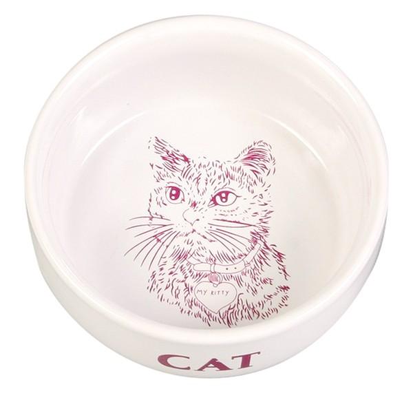 Keramiknapf CAT mit Motiv, Katze, 0,3 l/ø 11 cm, weiß