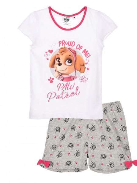 Paw Patrol Mädchen Schlafanzug mit Skye Motiv T-Shirt Kurze Hose, 2-tlg, weiß/grau