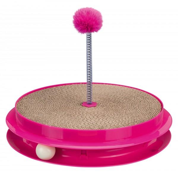 Trixie Katzen Spielplatte Scratch & Catch, Kunststoff mit Kratzpappe, ø 35 cm x 7 cm