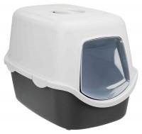 Katzentoilette Vico, mit Haube - 40x40x56 cm, grau/weiß