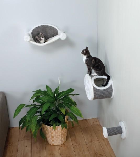 Katzen-Kletterparadies zur Wandmontage, 3 tlg. - Kuschelhöhle, Hängematte, Kletterstufe