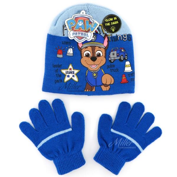 Paw Patrol Mütze Handschuhe Set für Junge mit Chase Motiv, blau