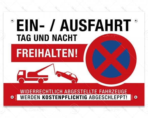 """Despri Schild """"Einfahrt/Ausfahrt freihalten"""", S0005, Aluverbund, 3 mm, 30x20 cm, UV-Lack, 4x gebohrt"""