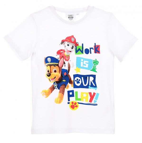 Paw Patrol Jungen T-Shirt mit Marshall & Chase, weiß