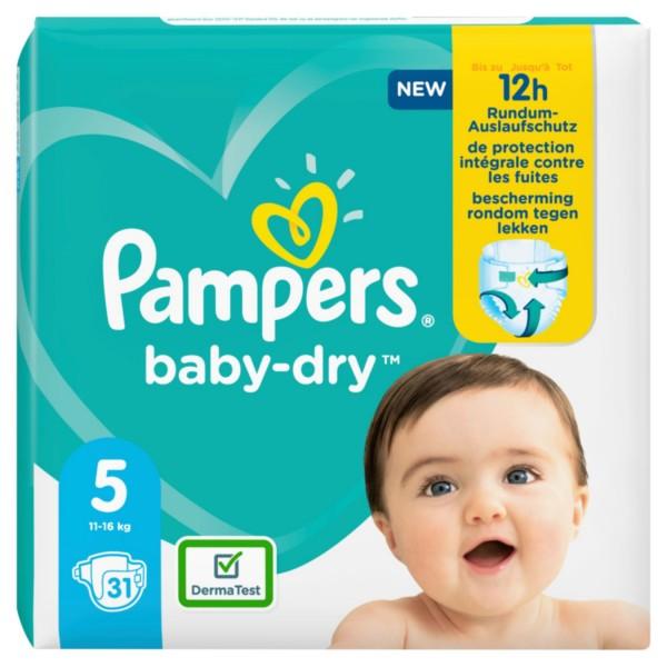 Pampers Baby Dry Windeln, Größe 5, Junior, 11-23 kg (1x 31 Stück)
