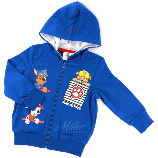 Paw Patrol Jungen Sweatjacke mit Rubble Marshall & Chase, blau