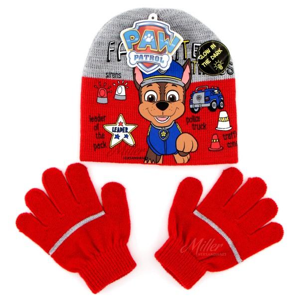 Paw Patrol Mütze Handschuhe Set für Junge mit Chase Motiv, rot