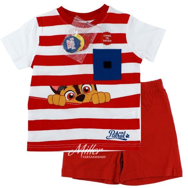 Paw Patrol Jungen Schlafanzug mit Chase Motiv, 2-teilig, rot