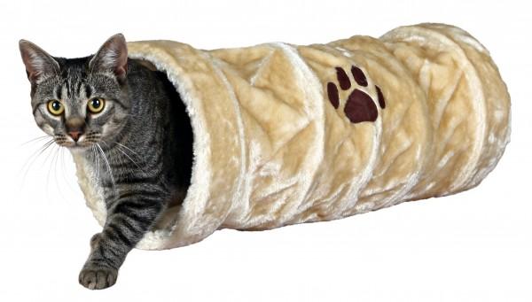 Trixie Crunch Plüschtunnel, 60 cm - Beige